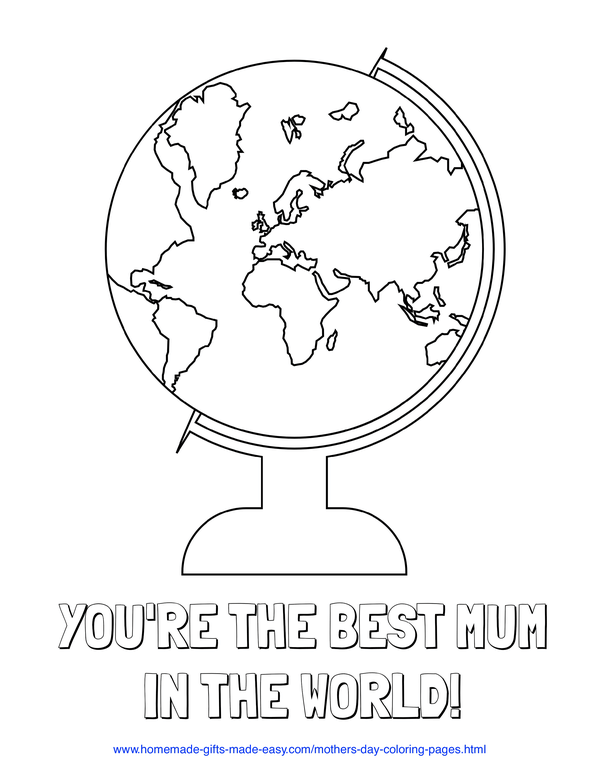 mother's day coloring pages - best mum in the world  (UK spelling)
