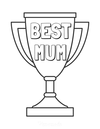 Mothers Day Coloring Pages Best Mum Trophy