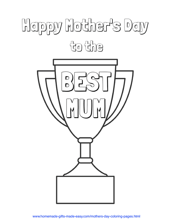 mother's day coloring pages - best mum trophy (UK spelling)
