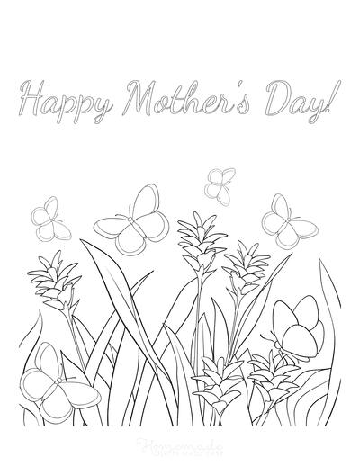 Mothers Day Coloring Pages Butterflies Grass