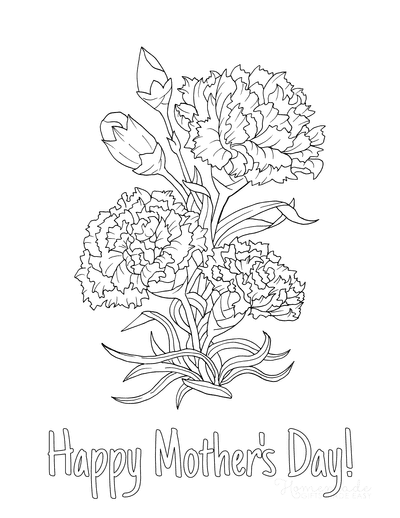 Mothers Day Coloring Pages Carnations