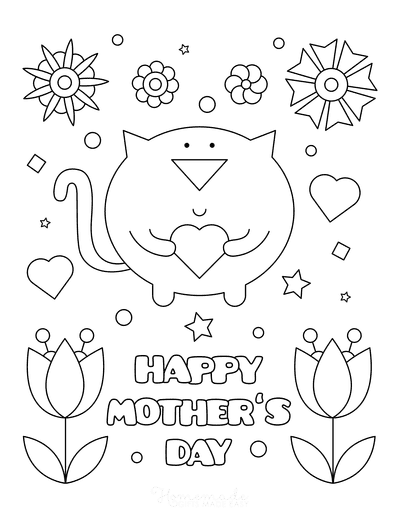 Mothers Day Coloring Pages Cat Heart Flowers