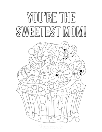 Mothers Day Coloring Pages Cupcake Sweetest Mom