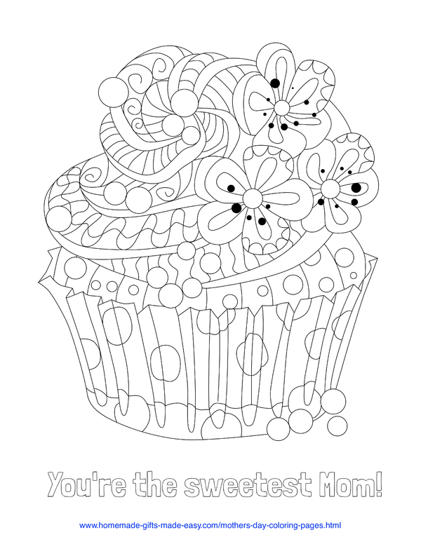 mother's day coloring pages - sweetest mom cupcake