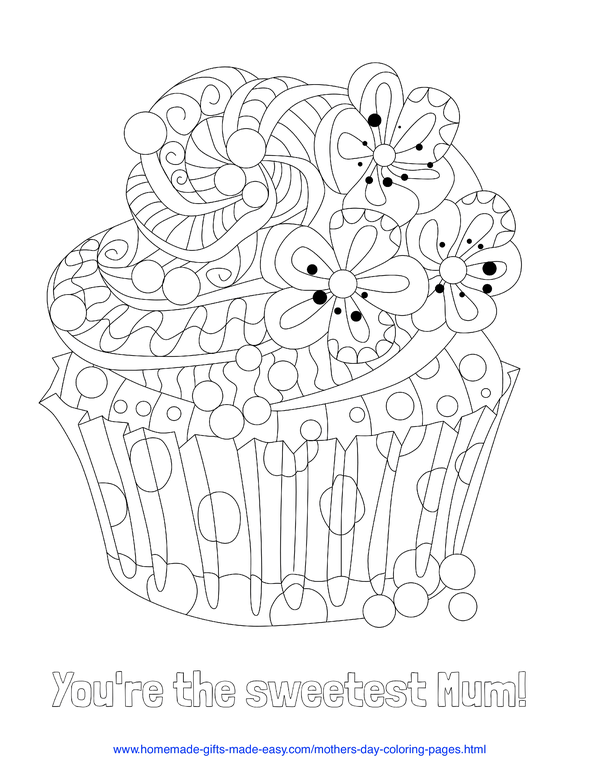 mother's day coloring pages - sweetest mum cupcake (UK spelling)