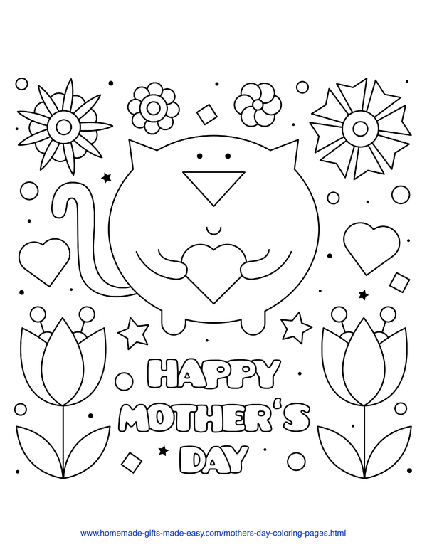 mother's day coloring pages - cat with love heart