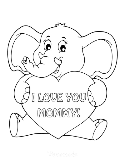 Mothers Day Coloring Pages Cute Elephant Holding Heart Mommy