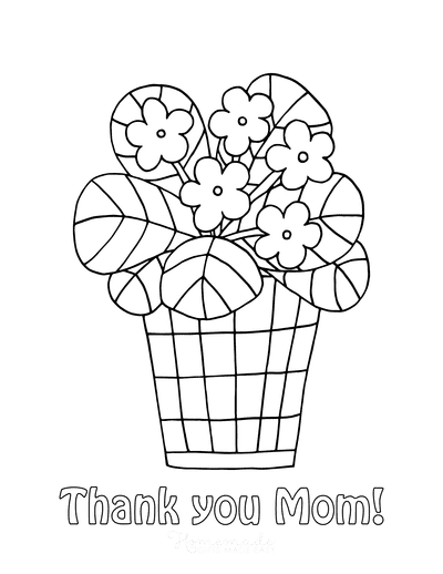 Mothers Day Coloring Pages Cute Flower Pot Thank You Mom