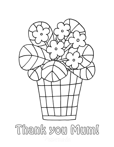 Mothers Day Coloring Pages Cute Flower Pot Thank You Mum