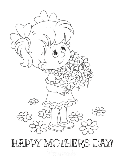Mothers Day Coloring Pages Cute Girl With Flowers