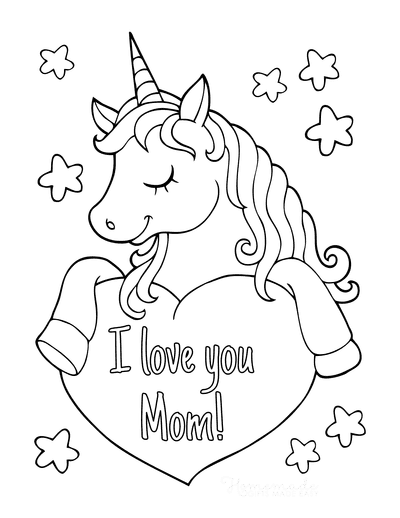 Mothers Day Coloring Pages Cute Unicorn With Heart Mom