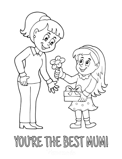 Mothers Day Coloring Pages Daughter Flower to Best Mum
