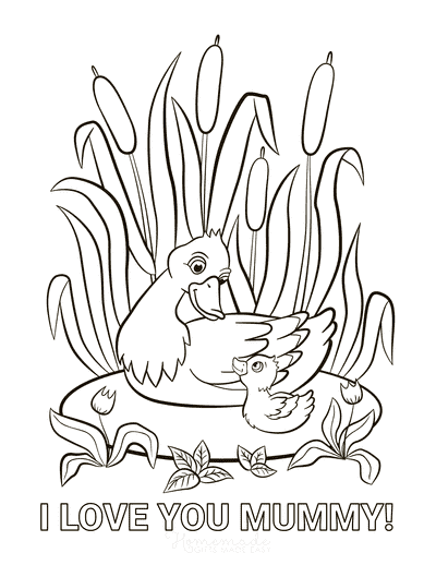Mothers Day Coloring Pages Duck Duckling Love You Mummy