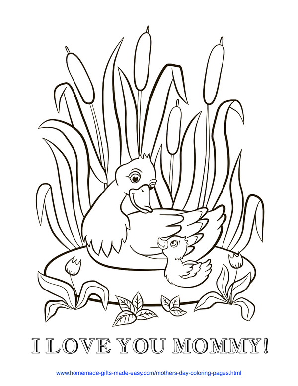 mother's day coloring pages - love you mommy duck and duckling