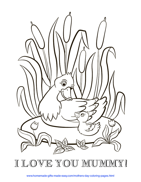mother's day coloring pages - love you mummy duck and duckling (UK spelling)