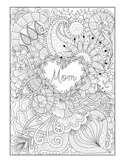 Mothers Day Coloring Pages Flower Heart Mom Doodle Teens