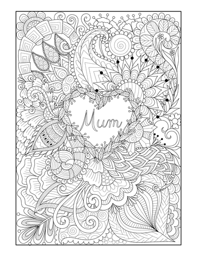 Mothers Day Coloring Pages Flower Heart Mum Doodle Teens