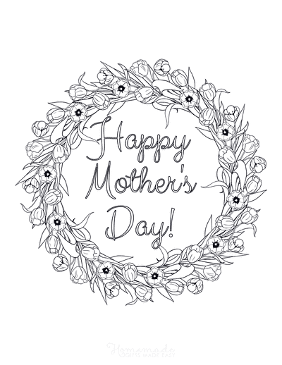 Mothers Day Coloring Pages Flower Wreath