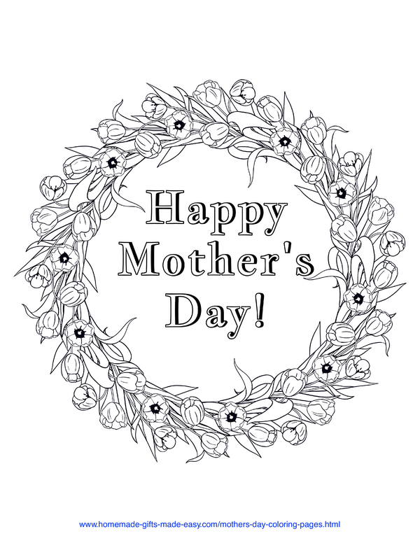 mother's day coloring pages - flower wreath