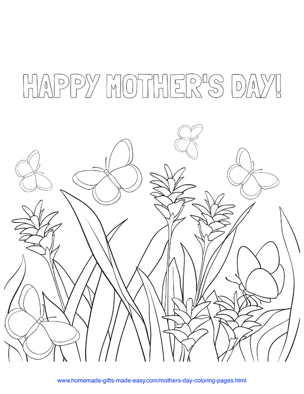 mother's day coloring pages - wildflowers and butterflies