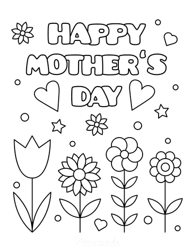 Mothers Day Coloring Pages Flowers Hearts Circles