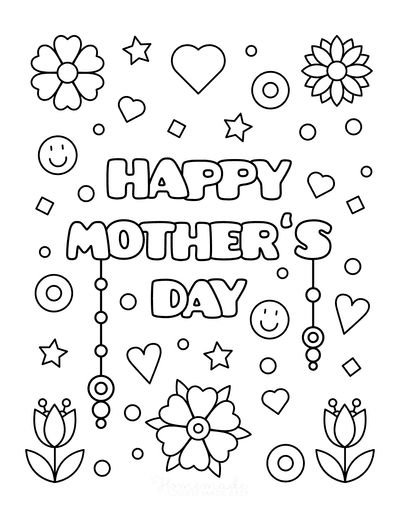 Mothers Day Coloring Pages Flowers Smiley Faces Stars Hearts
