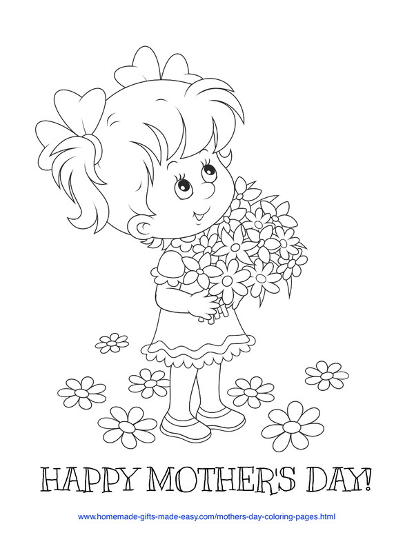 mother's day coloring pages - girl with flower bouquet