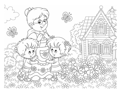 Mothers Day Coloring Pages Grandmother Children Flowers