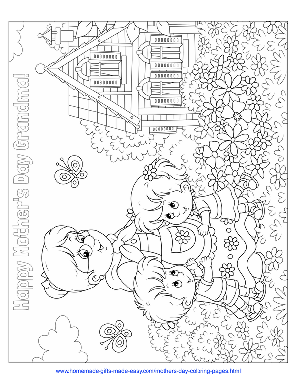 mother's day coloring pages - grandma's cottage