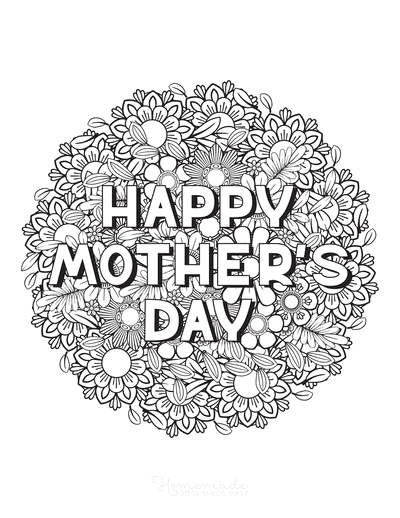Mothers Day Coloring Pages Happy Day Flower Doodle
