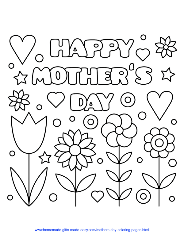 mother's day coloring pages - flowers and hearts