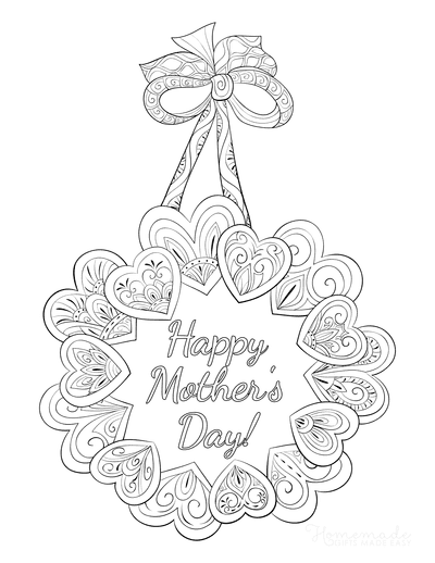Mothers Day Coloring Pages Heart Doodle Wreath Teens