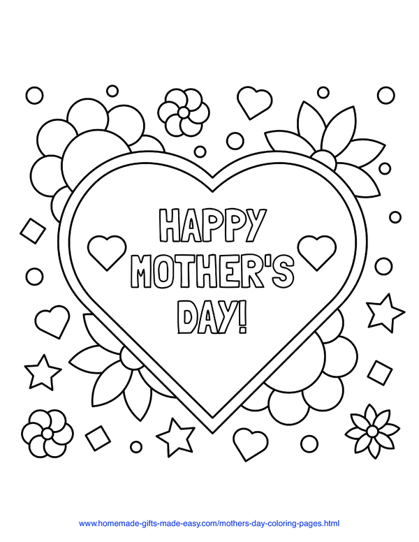 mother's day coloring pages - heart with Happy Mother's Day
