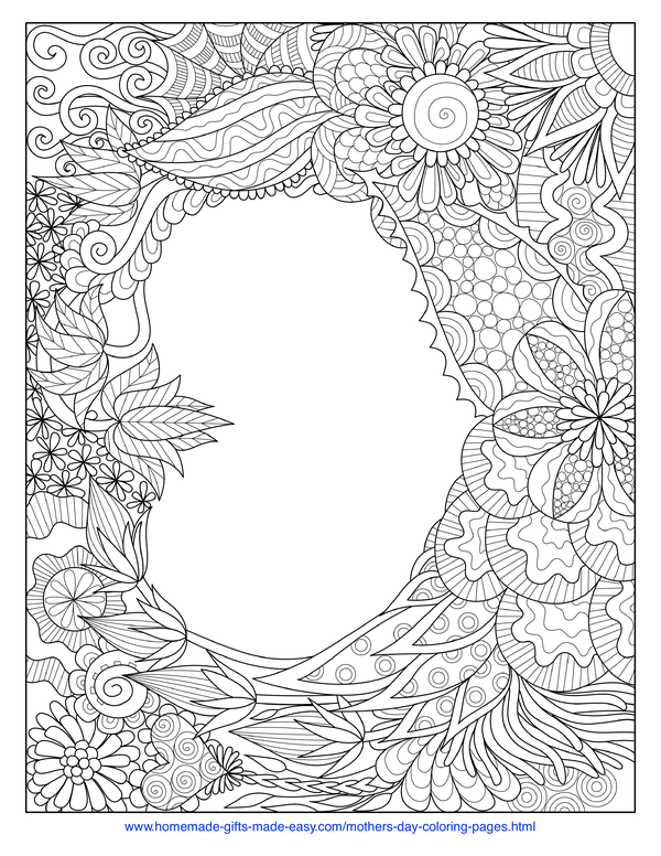 mother's day coloring pages - intricate heart
