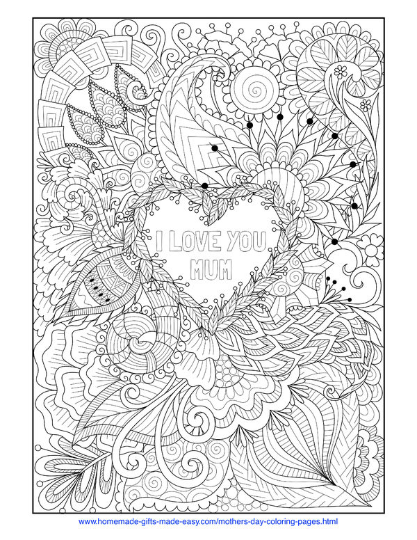 mother's day coloring pages - intricate heart with love you mum (UK spelling)