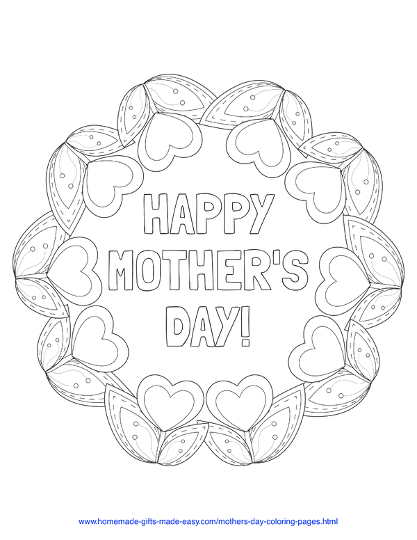 mother's day coloring pages - heart tulip wreath
