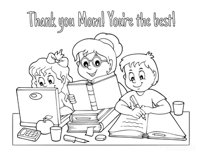 Mothers Day Coloring Pages Homeschool Thank You Mom