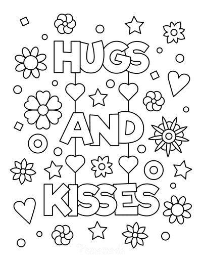 Mothers Day Coloring Pages Hugs and Kisses