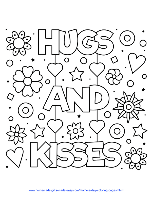 mother's day coloring pages - hugs and kisses with flowers and hearts