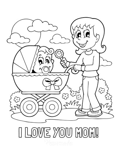 Mothers Day Coloring Pages I Love You Mom Baby Pram