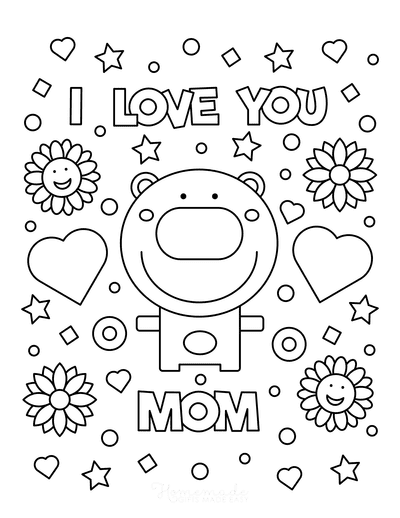 Mothers Day Coloring Pages I Love You Mom Bear