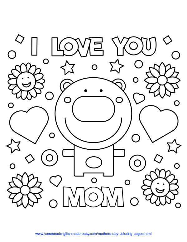 mother's day coloring pages - I love you mom bear with hearts and flowers