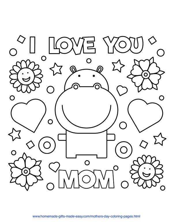 mother's day coloring pages - I love you mom hippo with hearts and flowers