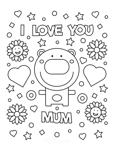 Mothers Day Coloring Pages I Love You Mum Bear