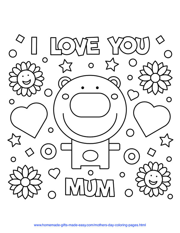mother's day coloring pages - I love you mum bear with hearts and flowers (UK spelling)