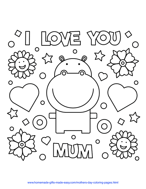 mother's day coloring pages - I love you mum hippo with hearts and flowers (UK spelling)