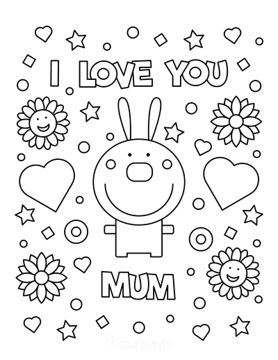 Mothers Day Coloring Pages I Love You Mum Rabbit