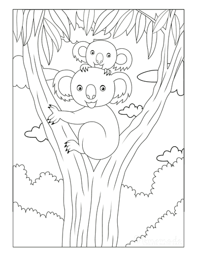 Mothers Day Coloring Pages Koala Mom Baby Gum Tree