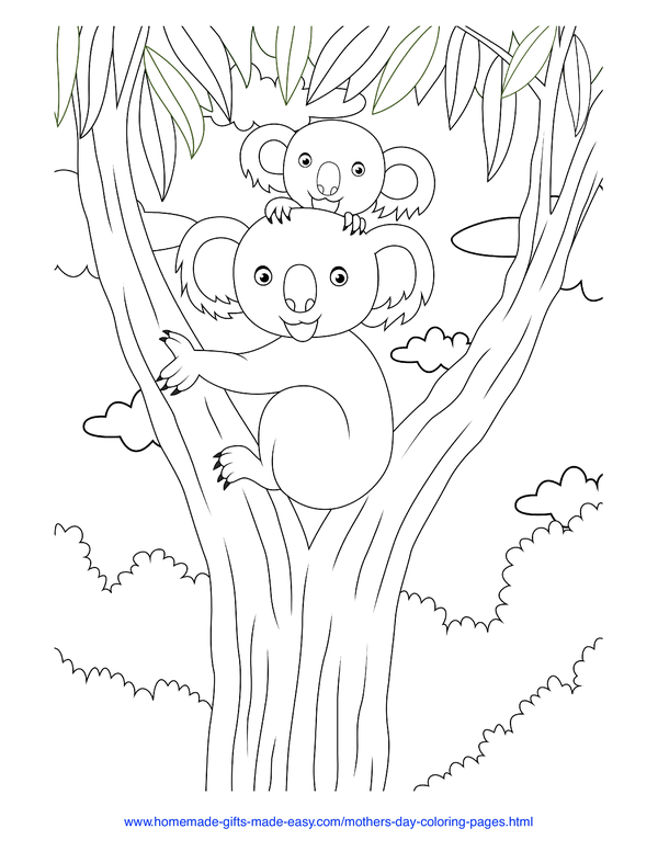 mother's day coloring pages - mother and baby koala cuddles