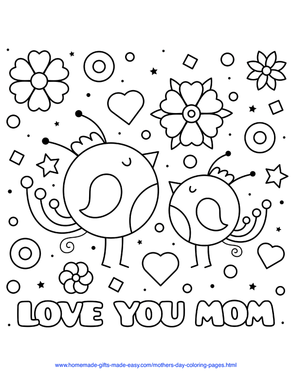 mother's day coloring pages - love you mom baby birds with hearts and flowers